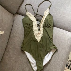 olive deep v lace one piece